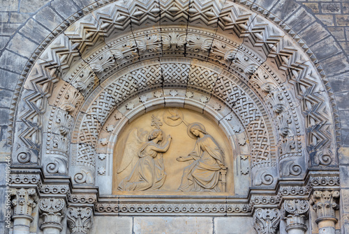 PRAGUE, CZECH REPUBLIC - OCTOBER 17, 2018: The relief of Annunciation on the portal of the church kostel Svatého Cyrila Metodeje by Václav Levý (1867 - 1869)