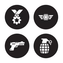 4 Vector Icon Set : Medal, Gun...