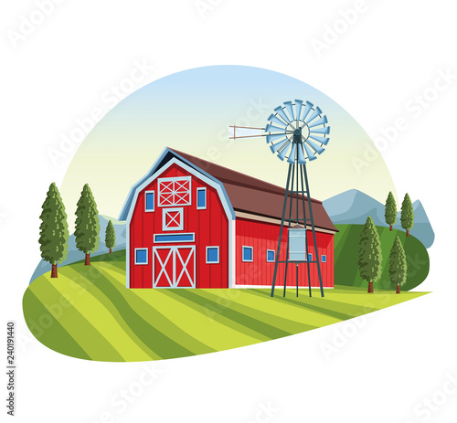 Farm with barn scenery Wallpaper Mural
