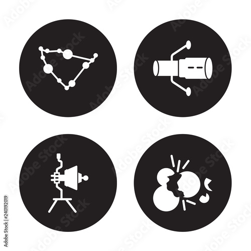Obraz na plátně 4 vector icon set : Capricorn, Voyager, Hubble space telescope, Big bang isolate
