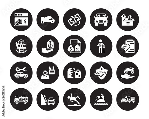 20 Vector Icon Set Actual Cash Value Sinking Slippery Road