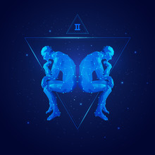 Vector Of Gemini Horoscope Sig...