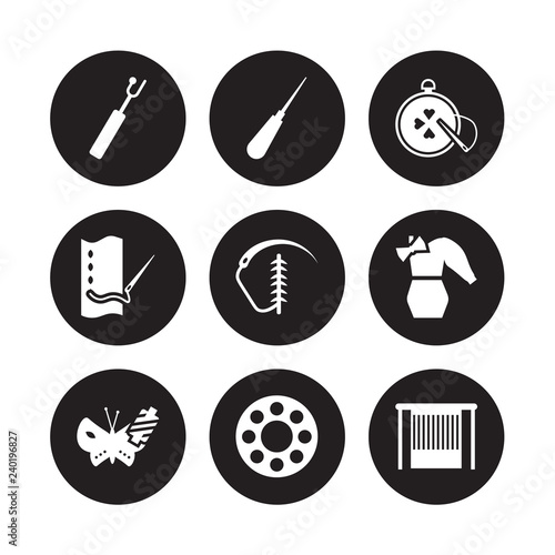 Fotografie, Obraz  9 vector icon set : buttonhole, awl, silk, styling, suture, needlepoint, running