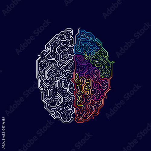vector of left and right brain in futuristic style, concept of functions of two sides of brain Wall mural