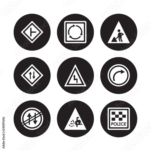 Fotografía  9 vector icon set : side road, Roundabout, Prohibited way, Right bend, reverse R