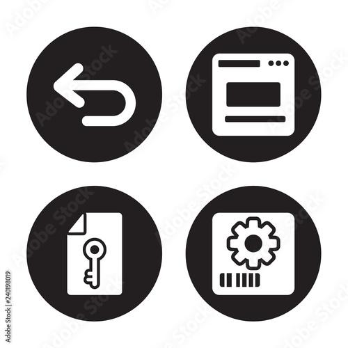 Fotografía  4 vector icon set : Left arrow, Key, Layout, Items isolated on black background
