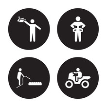4 Vector Icon Set : Origami, Mushrooming, Newspaper Readign, Motorcycle Riding Isolated On Black Background