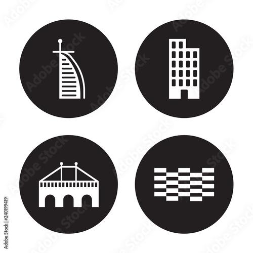 фотография 4 vector icon set : Burj al arab, Bridge, Building, Brickwall isolated on black