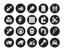 20 Vector Icon Set : Chainsaw,...