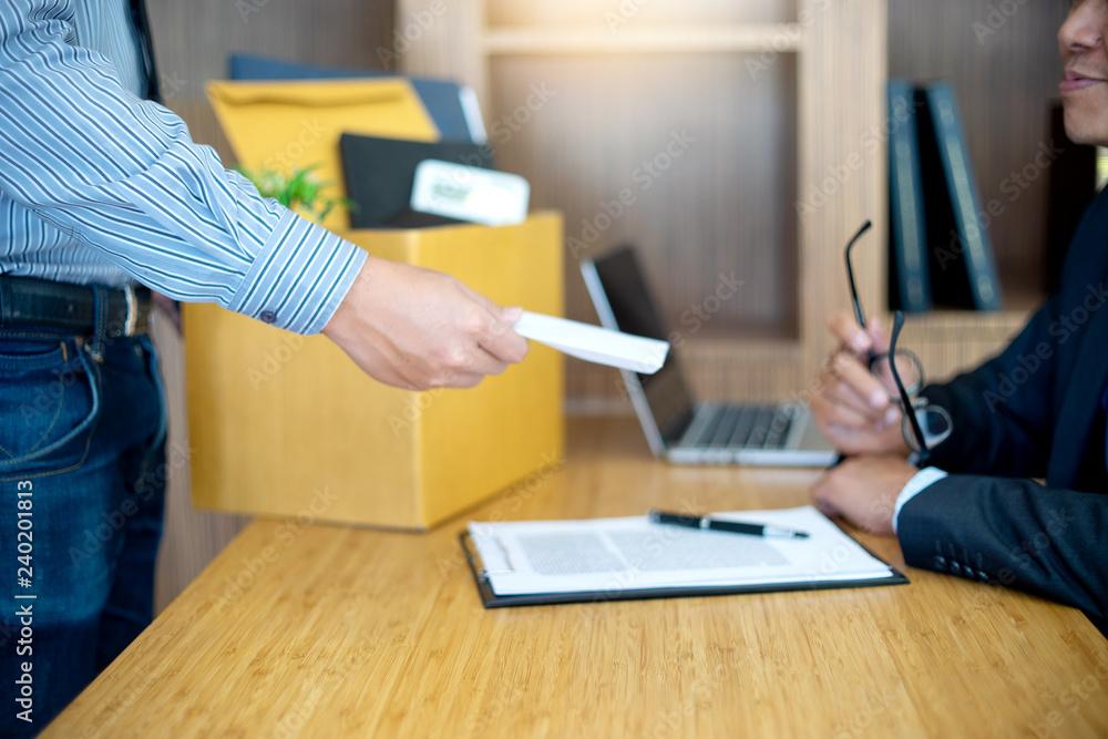 Fototapety, obrazy: staff send white envelop to boss  dismissed