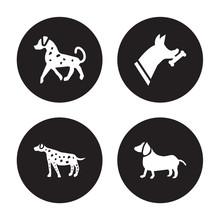 4 Vector Icon Set : English Setters Dog, Dalmatian Doberman Dachshund Dog Isolated On Black Background
