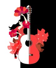 Beautiful Spanish Girl Dressed In Long Red Dress With Ruffles In Form Of Roses And With Fan In Her Hands Dancing Flamenco Next To Large Stylized Guitar On Black And White Background In Vector.
