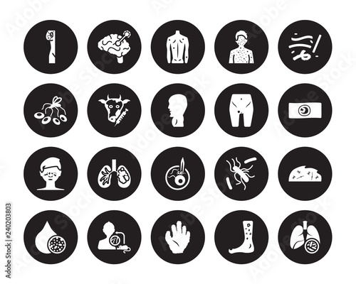 20 vector icon set : Lymphoma, Kuru, Kwashiorkor, Laryngitis, Lead poisoning, Lu Canvas Print