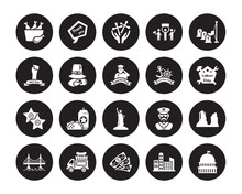 20 Vector Icon Set : Turkey Leg, Cityscape, Dollar, Food Truck, Golden Gate, Memorial Day, Columbus Statue Of Liberty, Walk Fame, Thanksgiving Day Isolated On Black Background