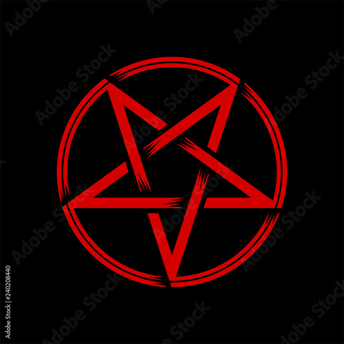 Pentagram isolated vector occultism symbol star in circle Canvas Print