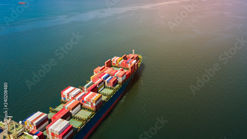 Photo  shipping container cargo business international inport ans export consumer produ