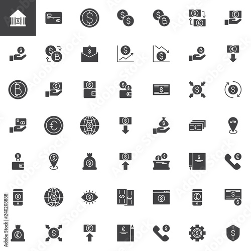 Filled Style Pictogram Pack Signs Logo Ilration Set Includes Icons As Bank Credit Card Dollar And Euro Currency Exchange Rate