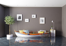 The Boat As A Sofa In Flooding Interior