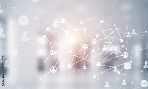 Concept of networking and connection against modern office blurred background