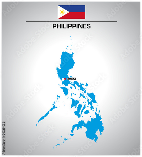 Simple Philippines Map.Simple Vector Outline Map Of Philippines With Flag Buy This Stock