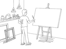 Boy Painting A Picture Art Wor...