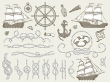 Decorative Marine Elements. Se...