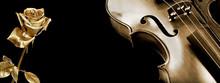 Violin And Rose. Gold Violin A...
