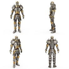 Full Medieval Iron Suit, Isolated On A White Background. 3d Illustration