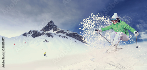 Fotomural skier in action