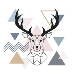 Geometric muzzle deer. Scandinavian style. Color geometric background. Vector illustration.