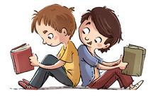 Niños Sentados Leyendo Libros
