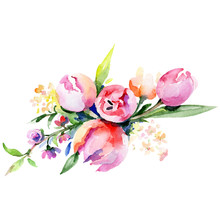 Pink And Yellow Floral Botanical Flower Bouquet. Watercolor Background Set. Isolated Bouquet Illustration Element.
