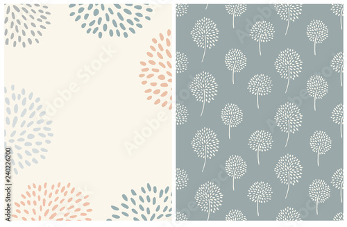 fototapeta na lodówkę Simple Abstract Floral Card And Pattern. PAle Blue, Green and Red Flowers on a Light Beige Background. Cream Color Abstract Trees on a Pale Green Layout. Lovely Pastel Color Printable Decoration Set.