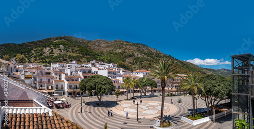 Fototapeta Panoramic view of the main square of Mijas, a traditional white village in the mountain of the coast of Malaga, Spain