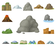 Different Mountains Cartoon Ic...