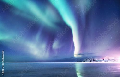 Fényképezés Aurora borealis on the Lofoten islands, Norway