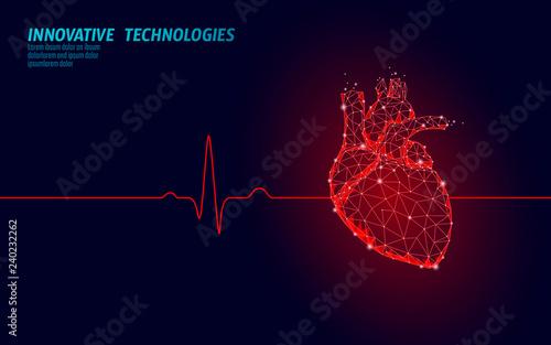 Healthy human heart beats 3d medicine model low poly Canvas Print