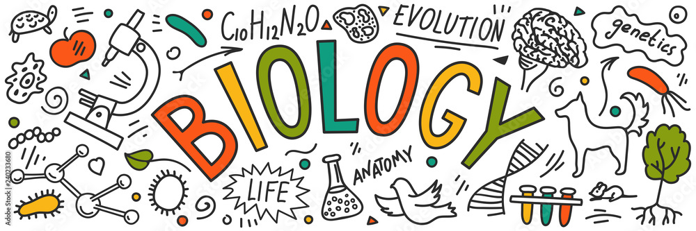 Fototapeta Biology. Hand drawn doodles with lettering.