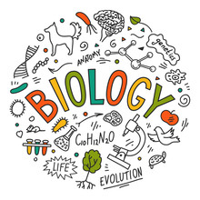 Biology. Hand Drawn Doodles With Lettering.