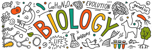 Tablou Canvas Biology. Hand drawn doodles with lettering.