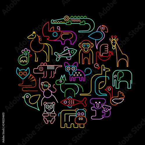 Zoo Animals Neon Round vector illustration