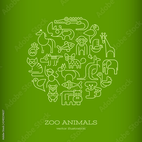Zoo Animals Round green vector illustration