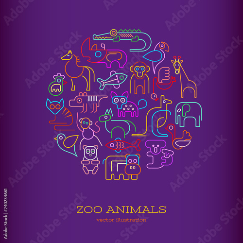 Zoo Animals Neon round shape