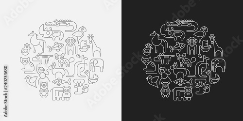 Aluminium Prints Abstract Art Zoo Animals outline vector illustration