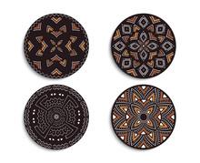 Set Of African Circular Ornaments. Tribal Print.
