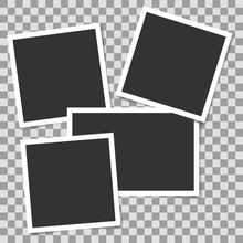 Pile Of Photo Frames On Transparent Background. Vector Template, Blank For Your Photo Or Image