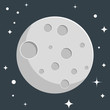 Moon flat design with stars