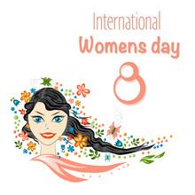 Spring Beautiful Girl  Portrait.  Girl Spring, Summer, Symbolizes Flowering, Joy. Postcard March 8, International Women's Day.