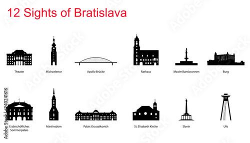 Bratislava Silhouette Wallpaper Mural