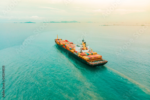 Aerial view of sea freight, Crude oil tanker lpg ngv at industrial